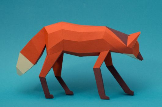 Geometric 3D Animal Sculputres Made From Paper